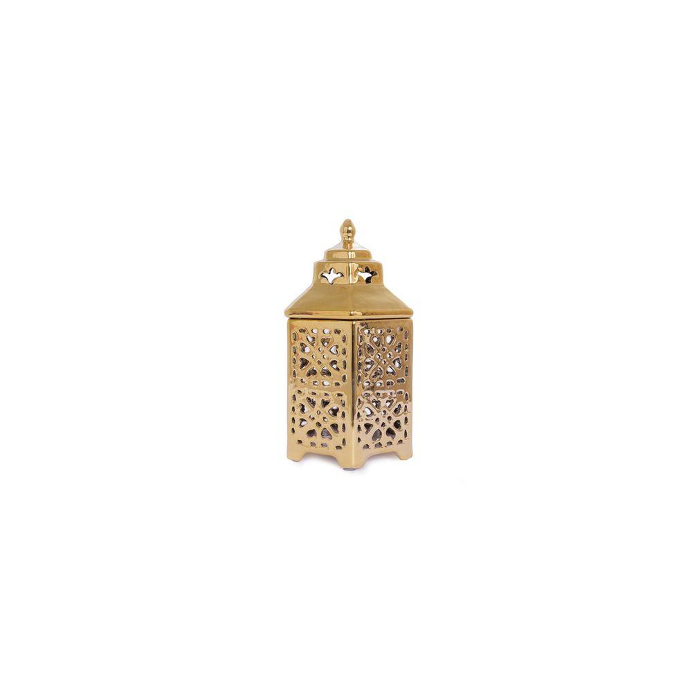 Luminária Porta Vela Pagoda Cor: Ouro - Tamanho: Único