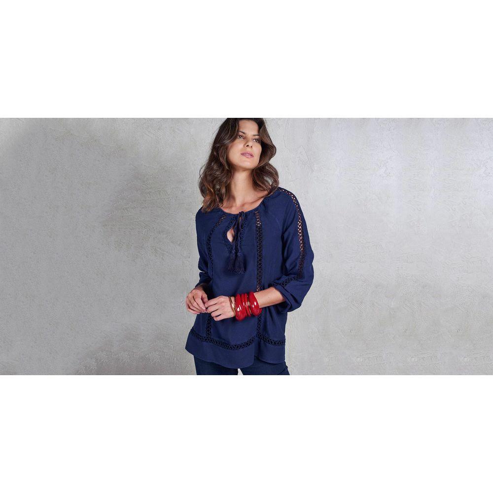 Blusa Amelie Cor: Azul Marinho - Tamanho: Pp
