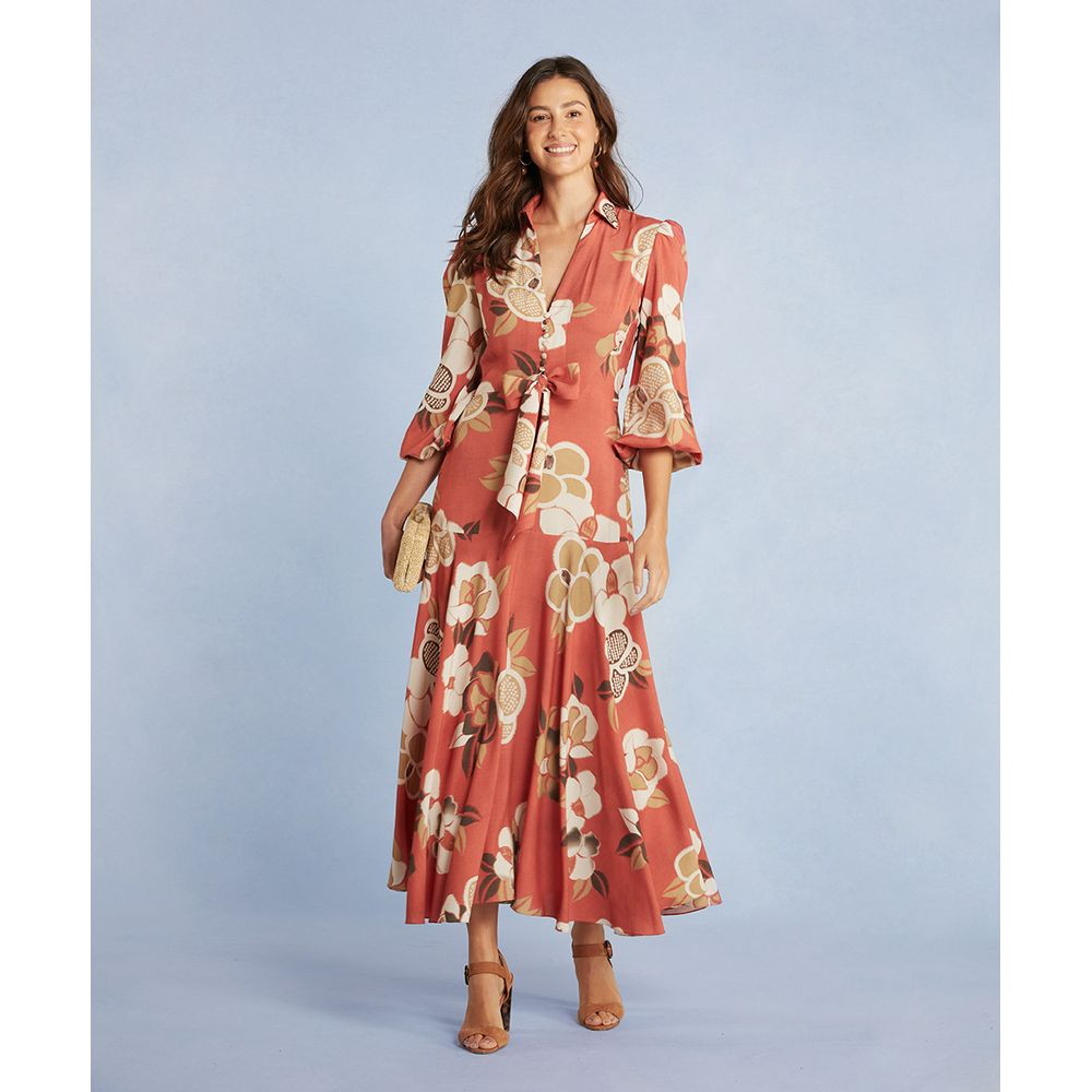 Vestido Tina Longo Em Viscose Estampada Cor: Laranja - Tamanho: Pp