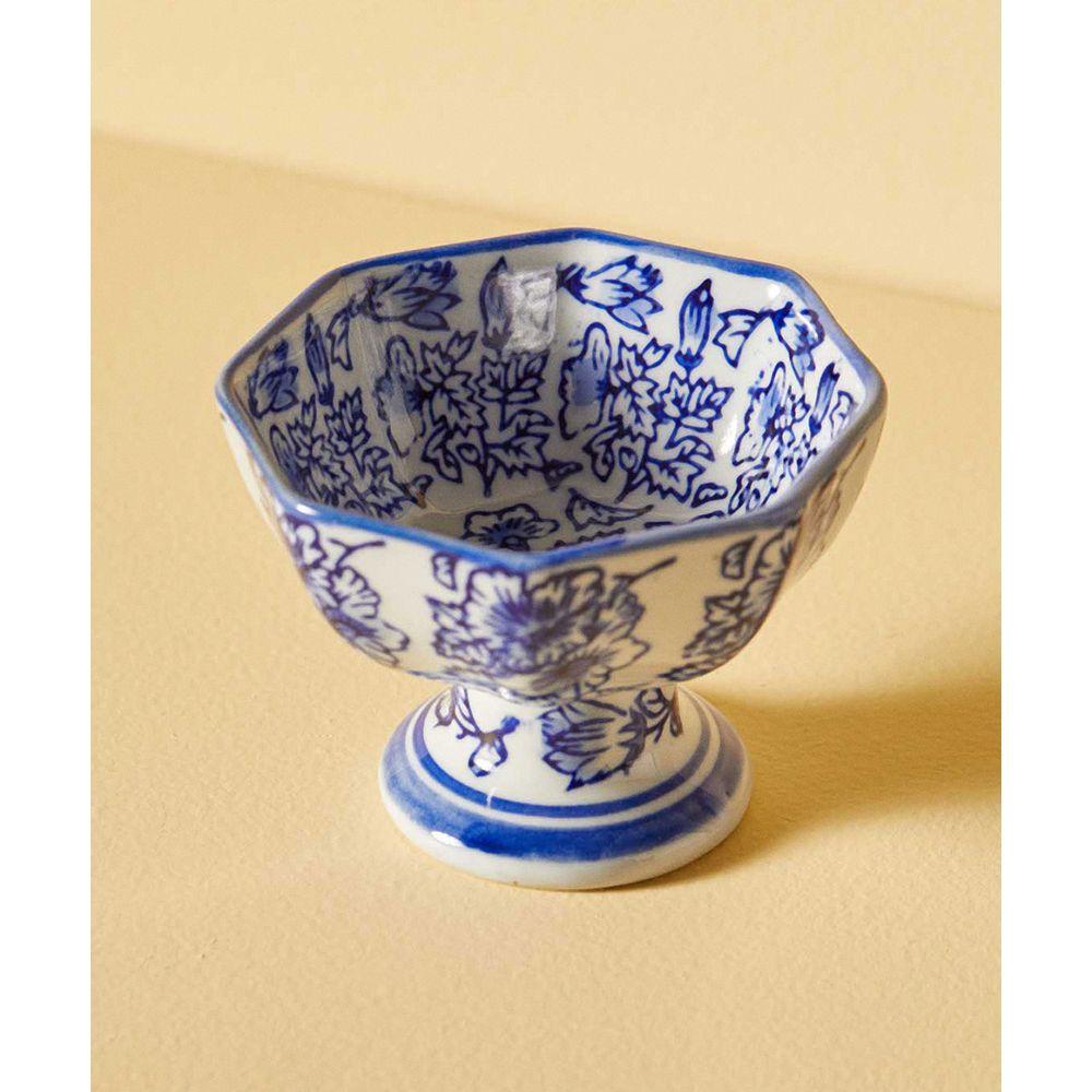 Bowl Decorativo Yushu De Cerâmica Cor: Azul - Tamanho: Único