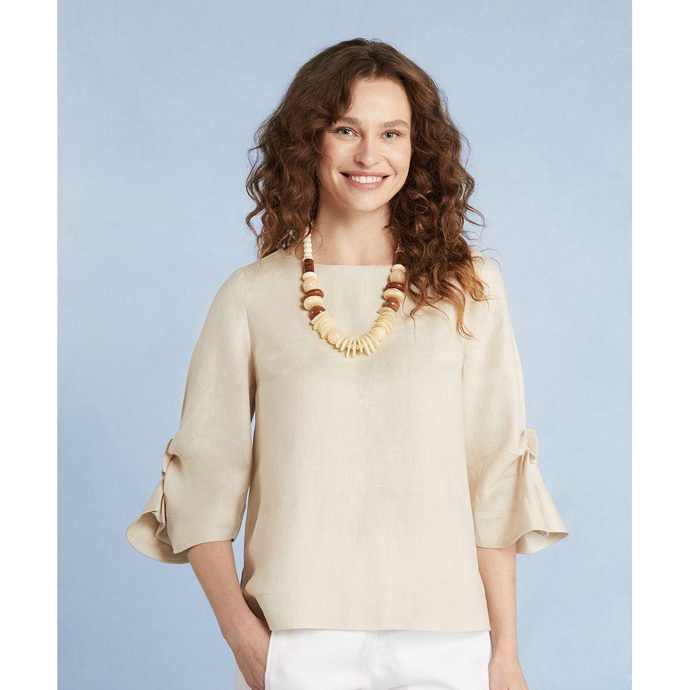 Blusa Wiley Em Linho Oversized Com Fenda Lateral Cor: Kraft - Tamanho: Pp