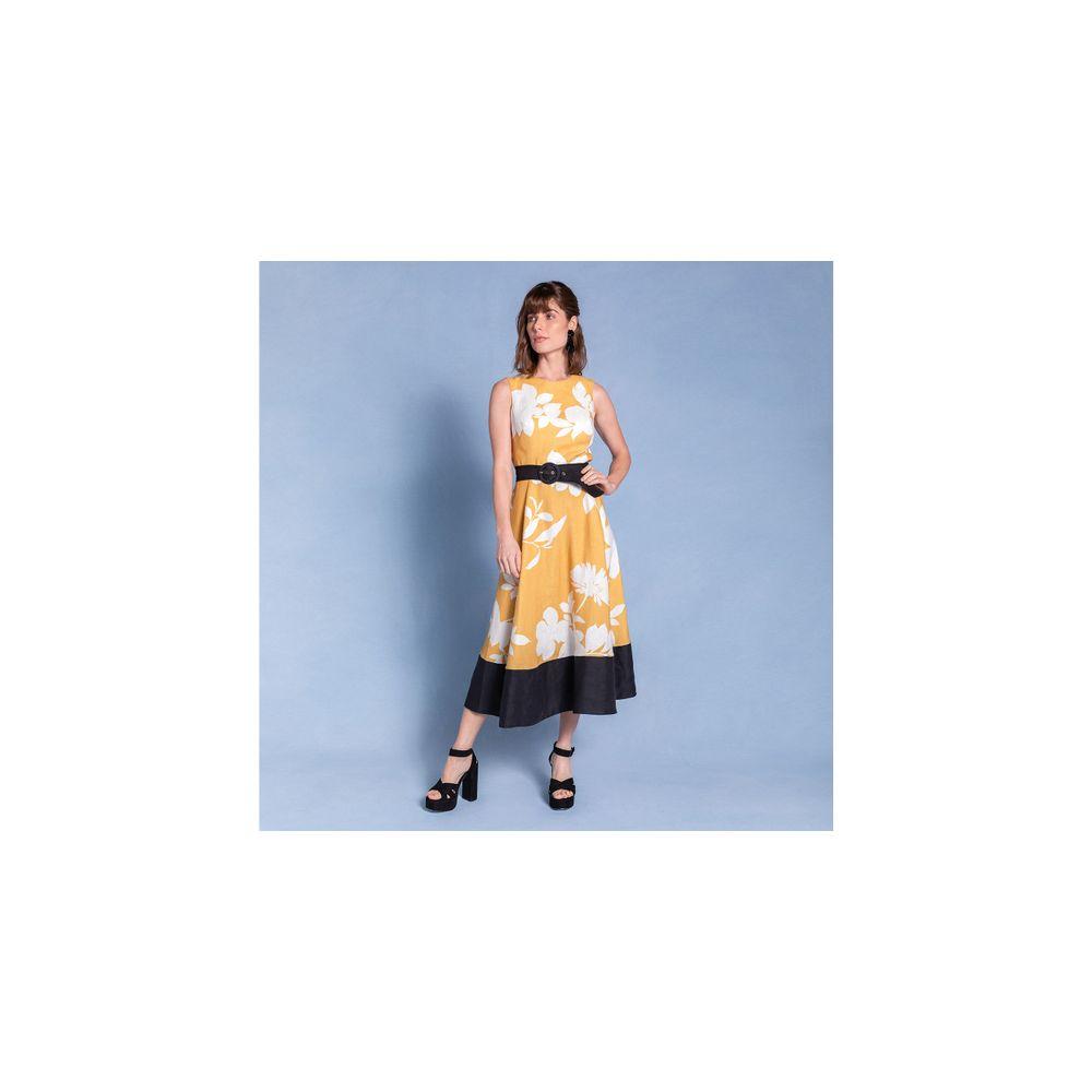 Vestido Estampado Com Decote Cor: Amarelo - Tamanho: P