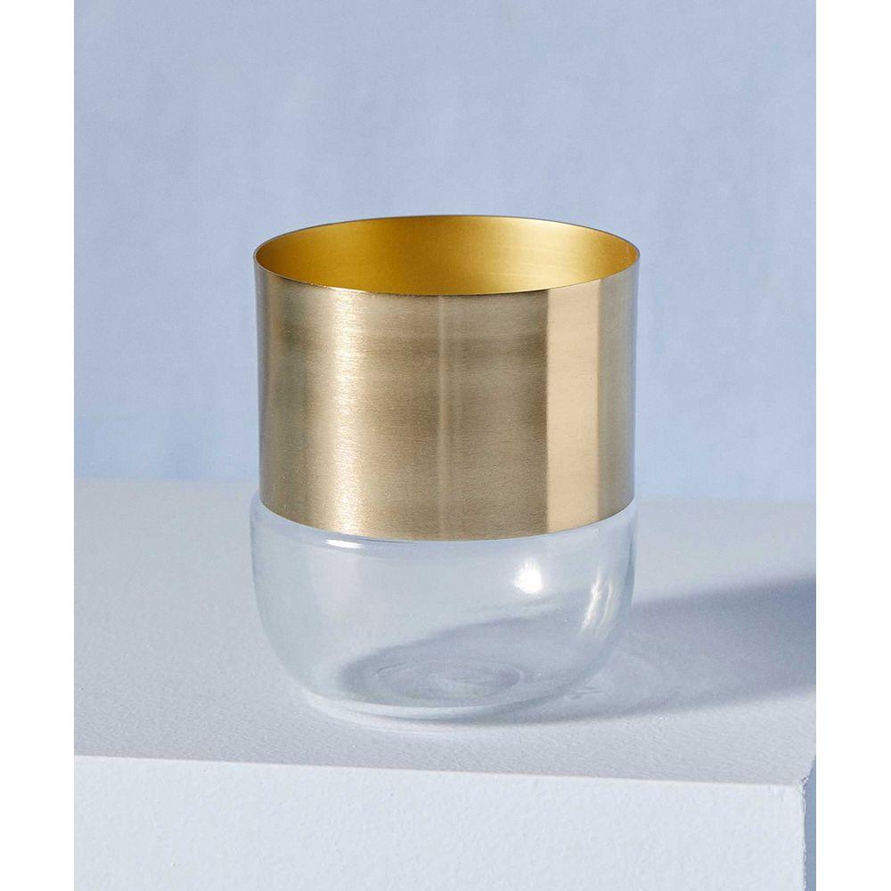 Vaso Vidro E Aço Cor: Transparente E Dourado - Tamanho: Único
