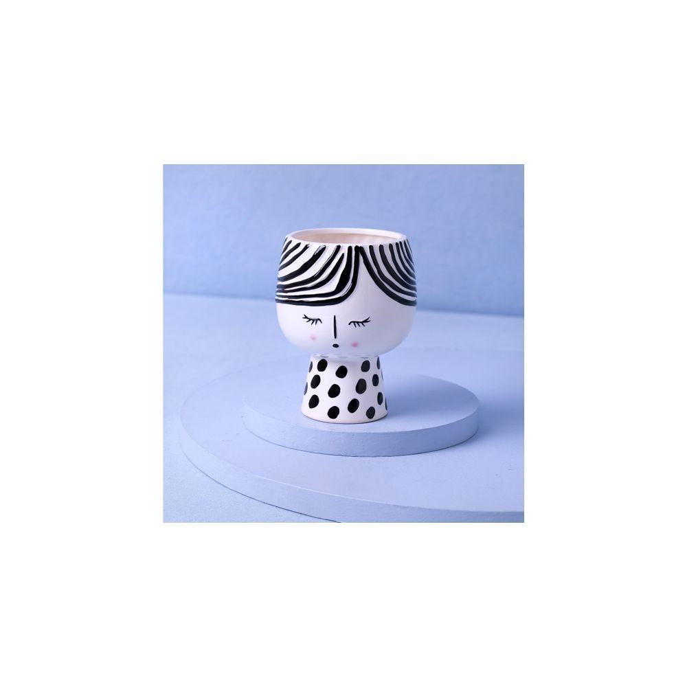 Vaso De Dolomita Estampada Cor: Preto E Branco - Tamanho: Único