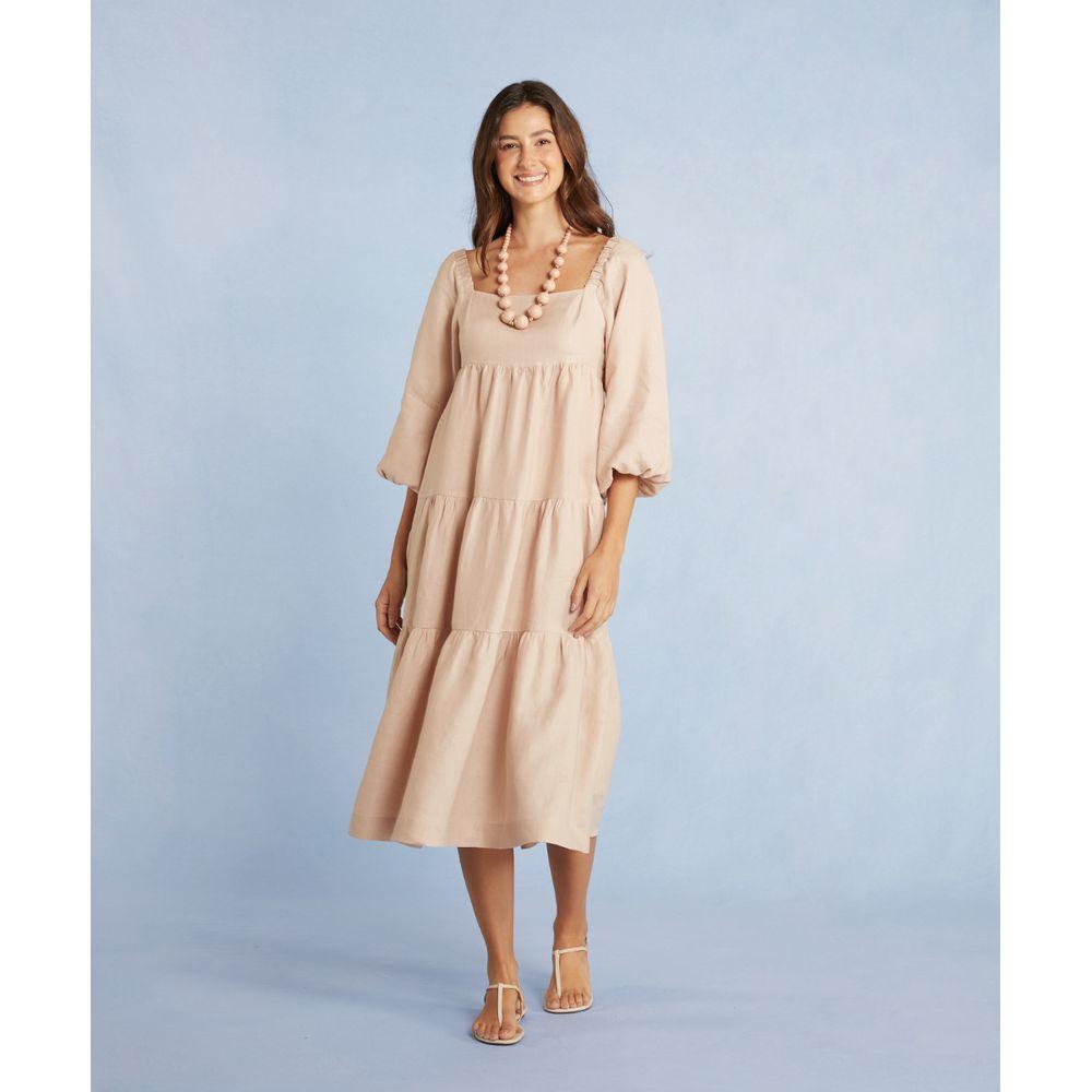 Vestido Lilian Sue Midi Em Linho Oversized Com Decote Cor: Nude - Tamanho: Pp