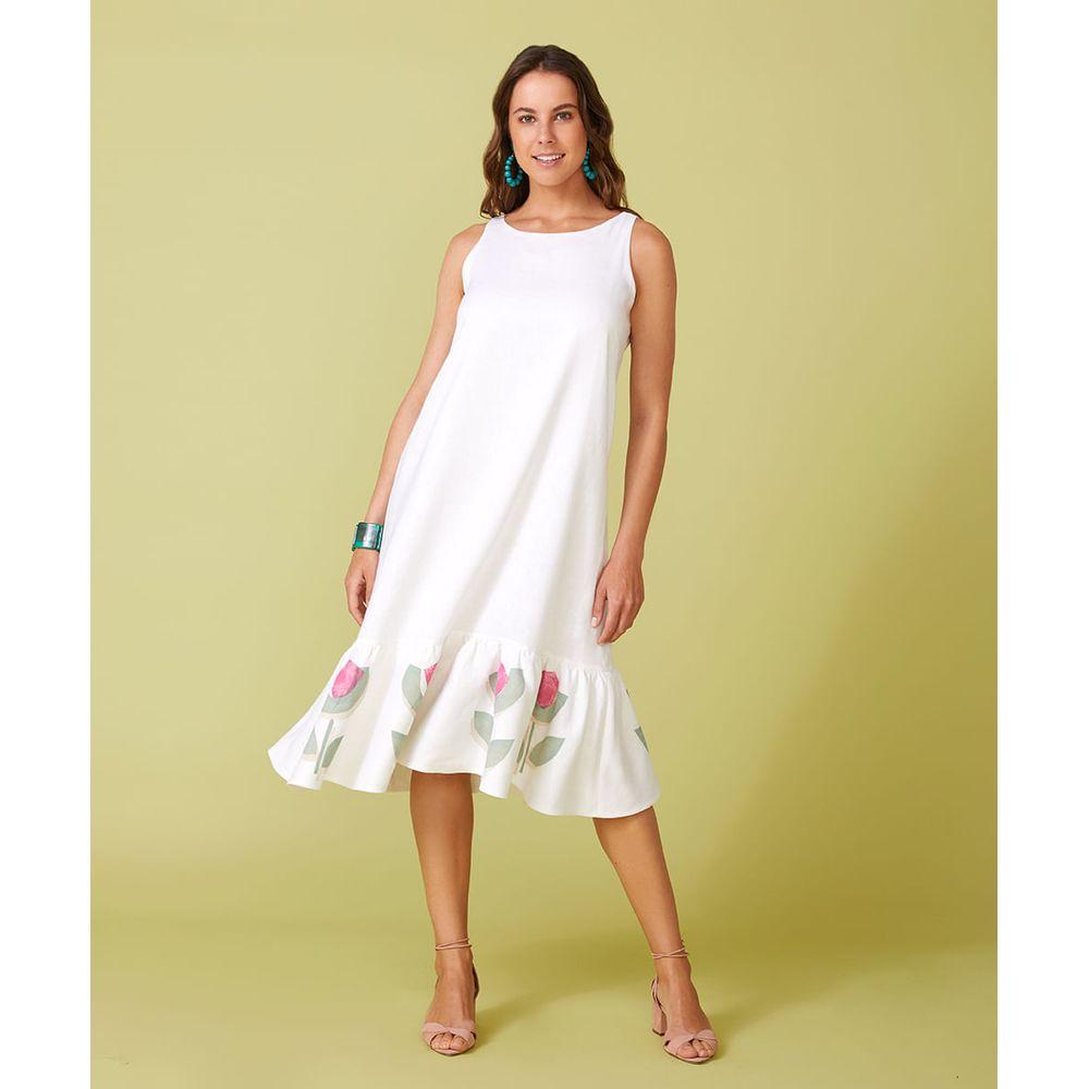 Vestido Brigitte Flower Cor: Off White - Tamanho: Pp