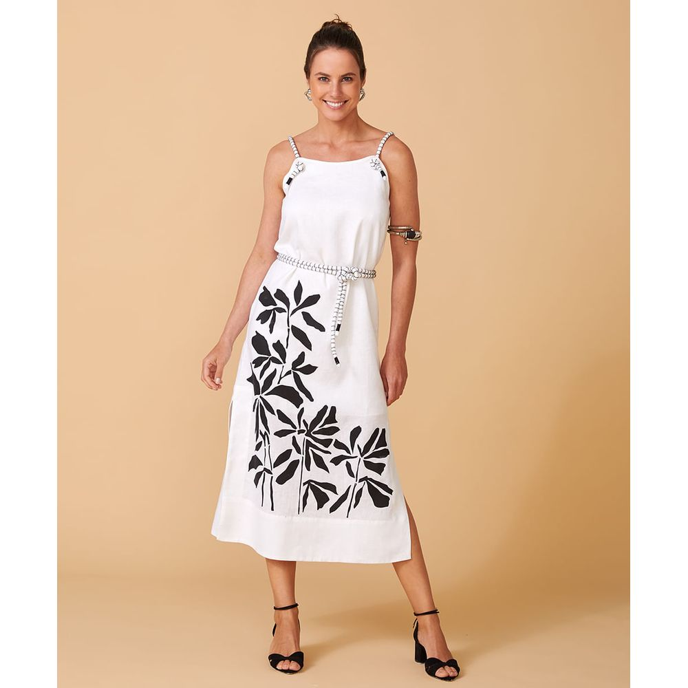 Vestido Branco Midi - Vestido Suzy Cor: Off White - Tamanho: Pp