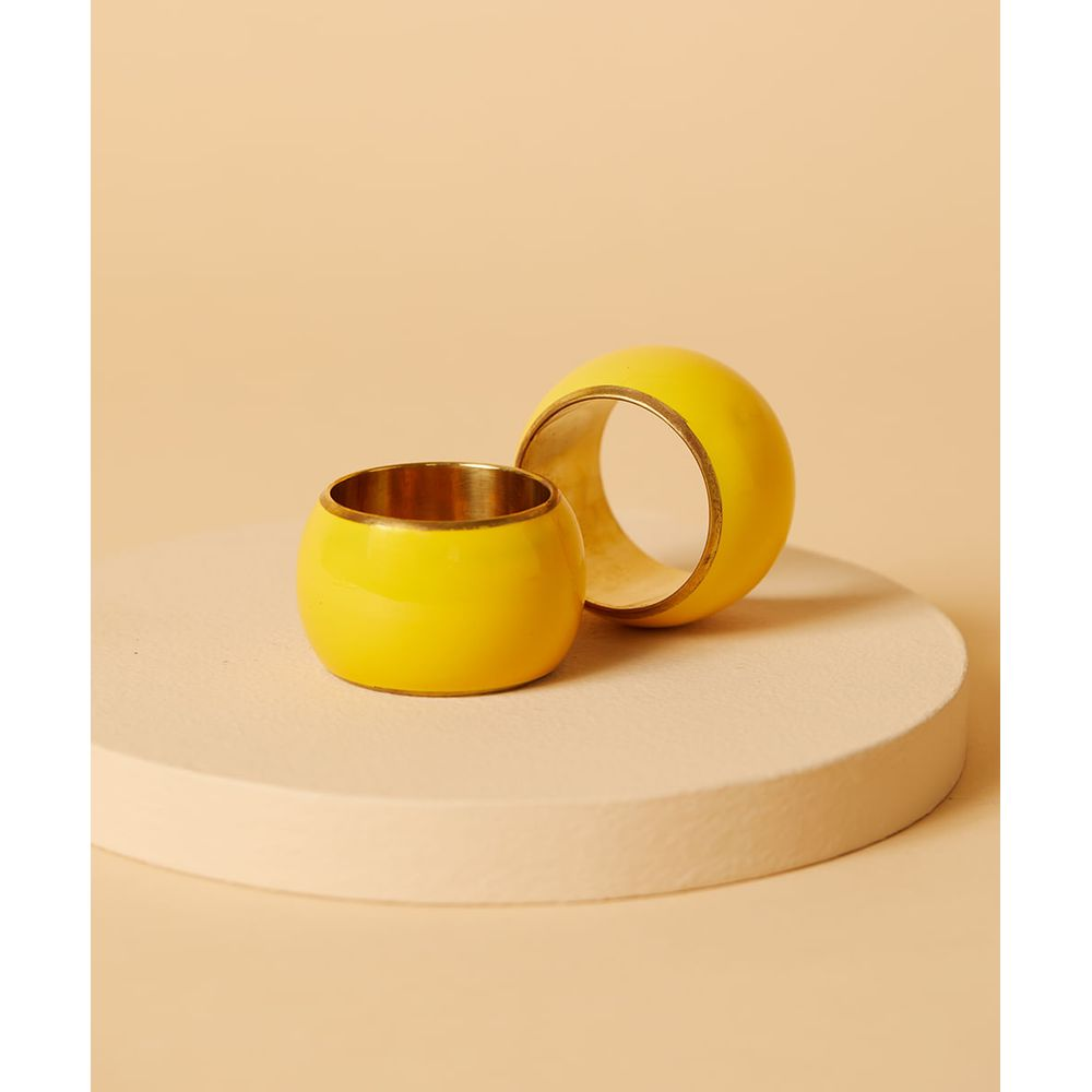 Argola De Guardanapo - Argola Satun Set 2 Pçs Cor: Amarelo - Tamanho: Único